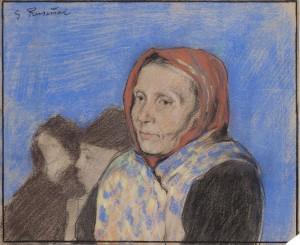 Dona amb mocador vermell de S. Rusiñol